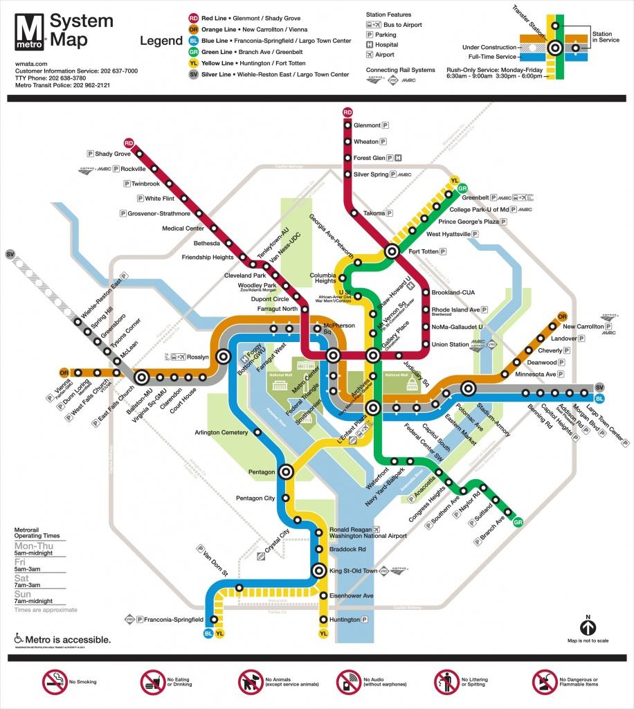Washington, D.c. Metro Map - Printable Dc Metro Map