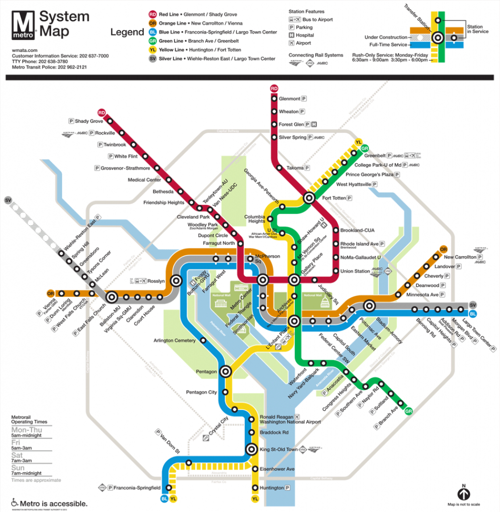 Washington, D.c. Subway Map | Rand - Printable Dc Metro Map