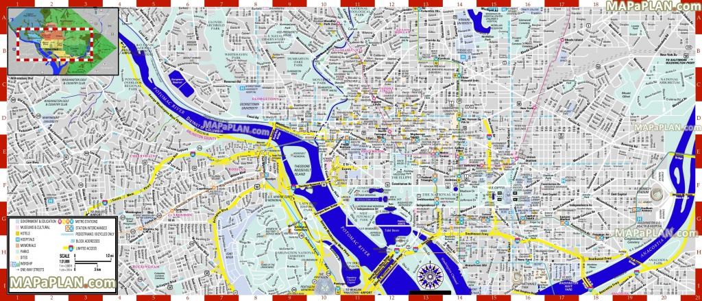 Washington Dc Maps - Top Tourist Attractions - Free, Printable City - Free Printable City Street Maps