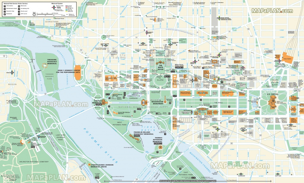 Washington Dc Maps - Top Tourist Attractions - Free, Printable City - Printable Map Of Dc Monuments
