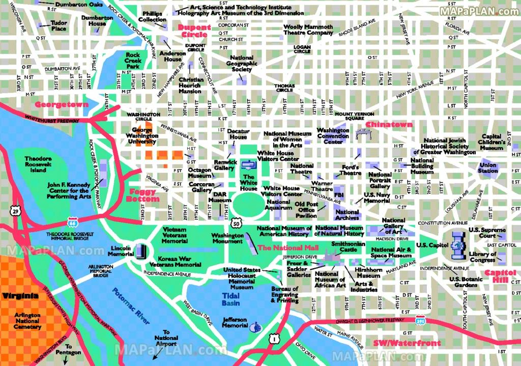 Washington Dc Maps - Top Tourist Attractions - Free, Printable City - Printable Walking Map Of Washington Dc