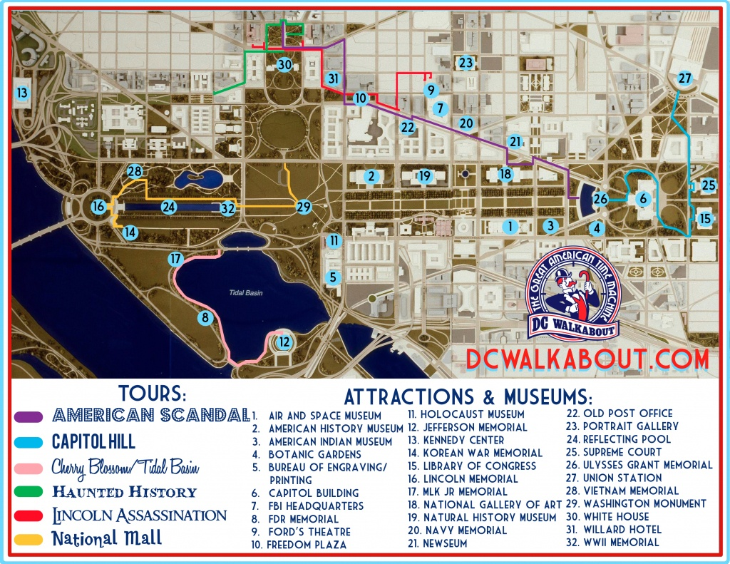 Washington Dc Tourist Map | Tours & Attractions | Dc Walkabout - Map Of Downtown Washington Dc Printable