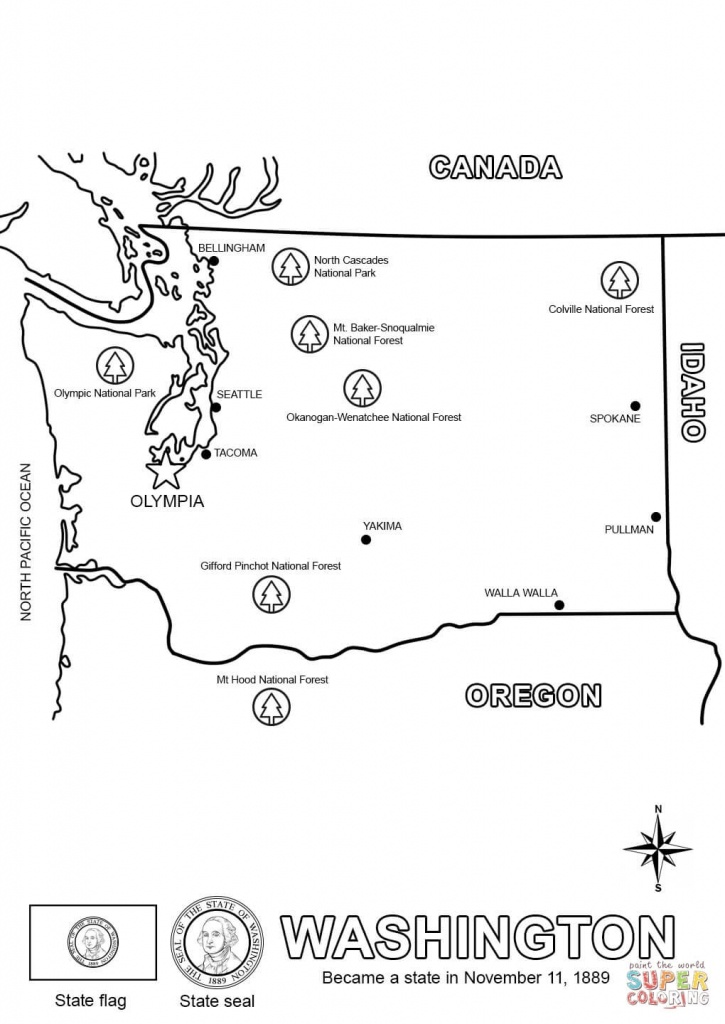 Washington State Map Coloring Page | Free Printable Coloring Pages - Printable Map Of Washington State