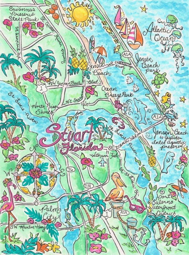 Watercolor Map Of Stuart Florida | Etsy - Map Showing Stuart Florida