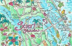 Watercolor Map Of Stuart Florida   Etsy   Watercolor Florida Map