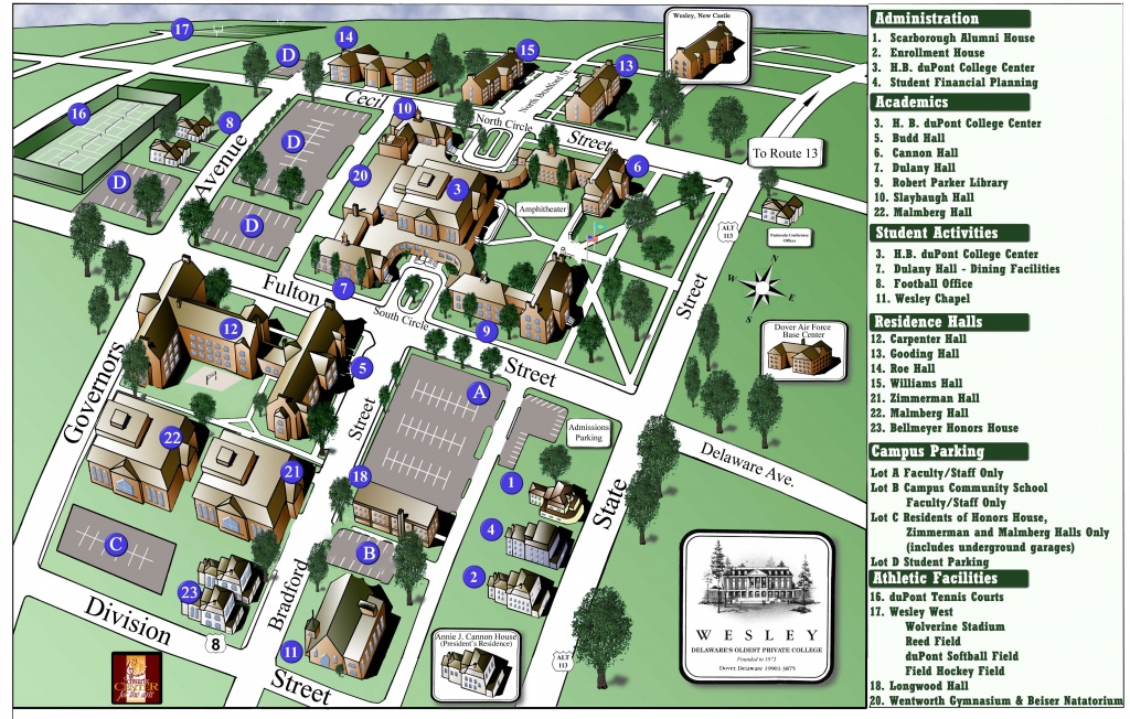 Wesley College Campus Map - 120 North State Street Dover Delaware - Duke University Campus Map Printable