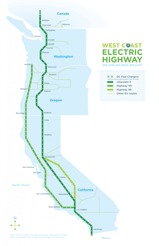 West Coast Green Highway: West Coast Electric Highway - Tesla Charging Stations Map California