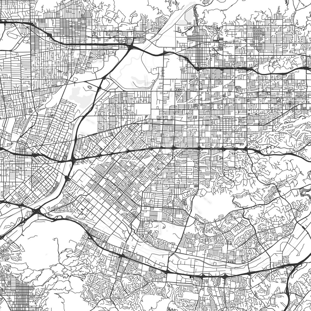West Covina, California - Area Map - Light | Hebstreits Sketches - West Covina California Map