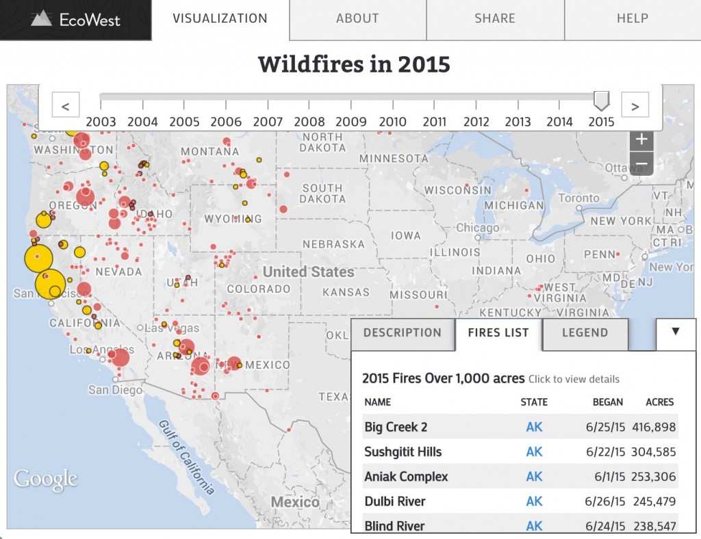Wildfires In The United States | Data Visualizationecowest - Interactive Map Of California Fires