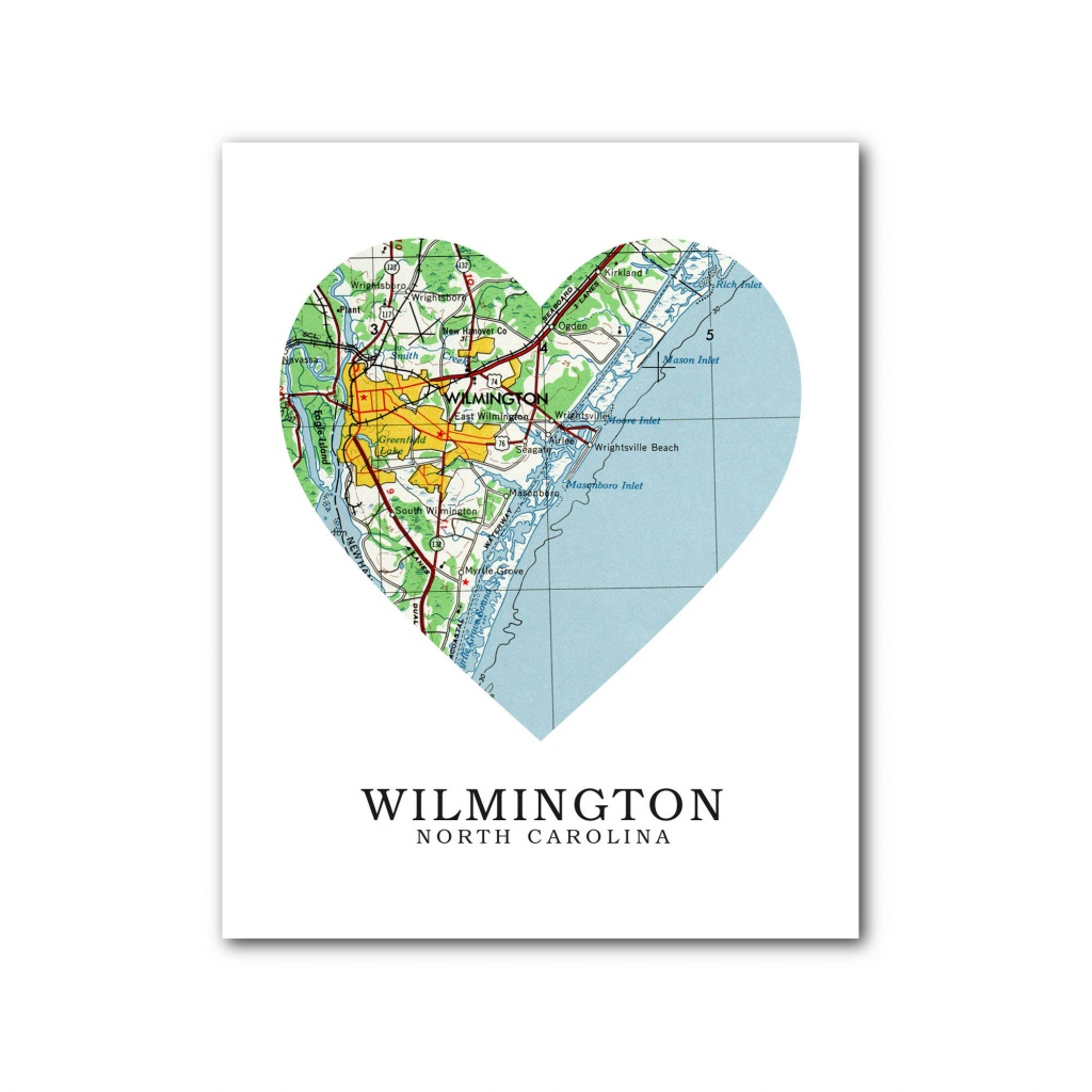 Wilmington Map Heart Print Wilmington Map Art Wilmington | Etsy - Printable Map Of Wilmington Nc