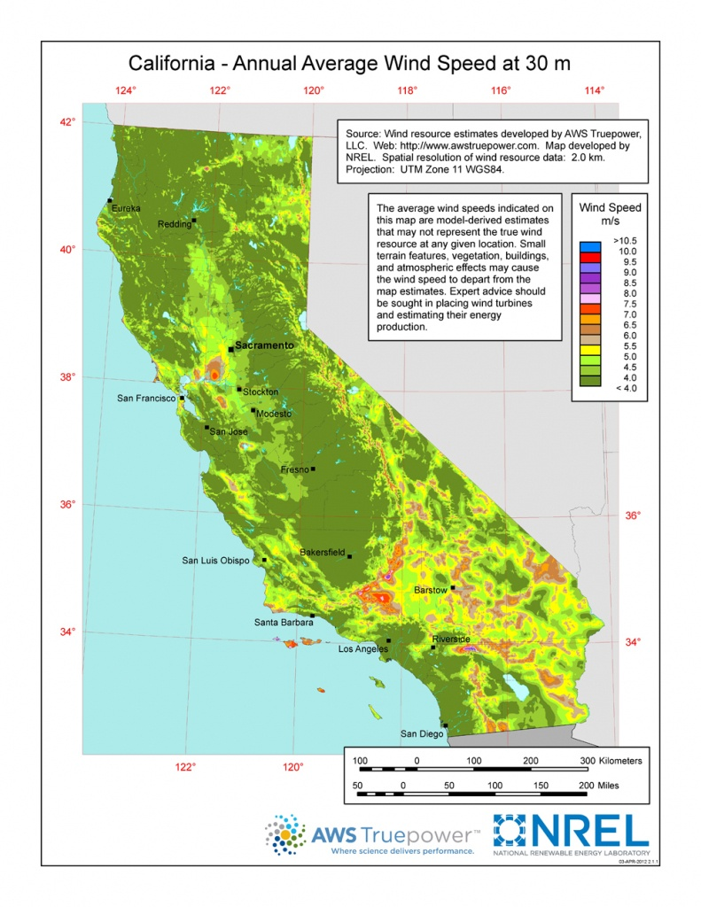 Windexchange: California 30-Meter Residential-Scale Wind Resource Map - Show Map Of California