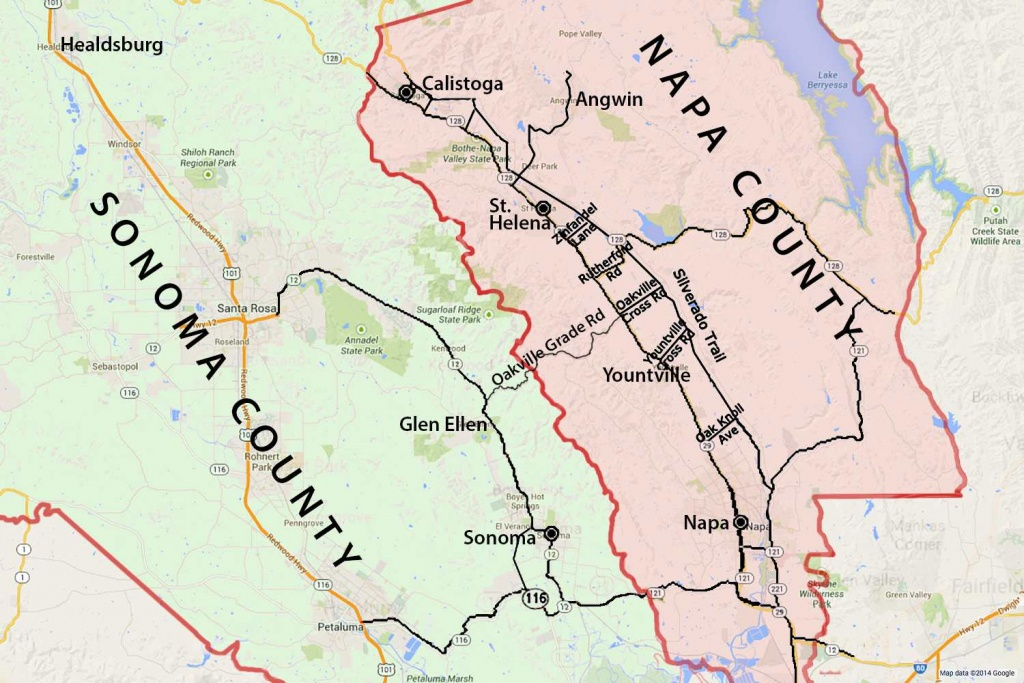 Wine Country Map: Sonoma And Napa Valley - Map Of Sonoma California Area
