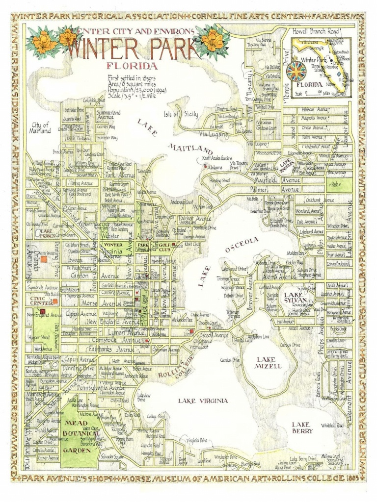 Winter Park, Florida Map 12X16 Print From Original Drawing. $25.00 - Winter Park Florida Map