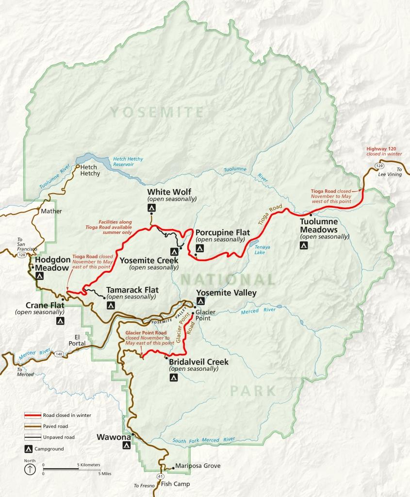 Winter Road Closures - Yosemite National Park (U.s. National Park - California Highway 1 Closure Map
