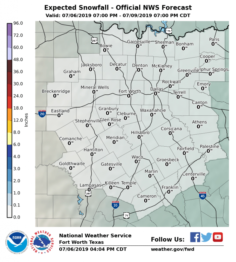 Winter Weather Probabilities - Waco Texas Weather Map