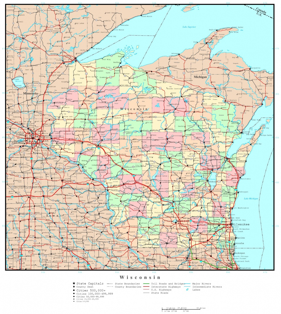Wisconsin Political Map - Wisconsin Road Map Printable