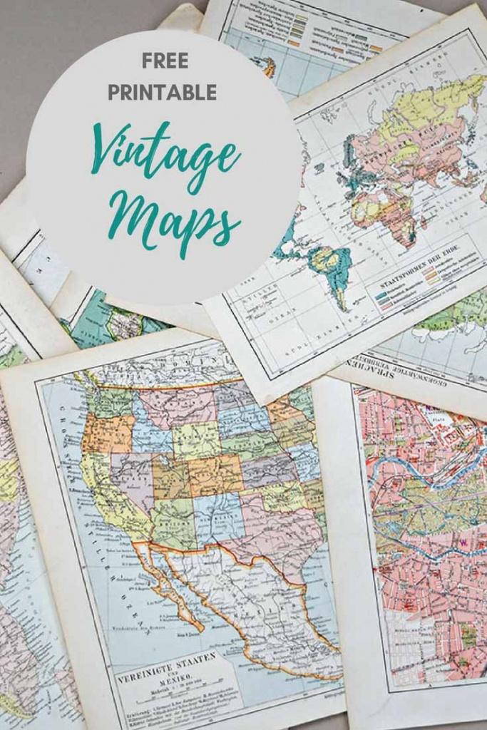 Wonderful Free Printable Vintage Maps To Download - Pillar Box Blue - Printable Map With Pins