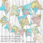 World Map Bunting. Map Garland, Printable Map Banner Travel Theme   Printable Map Banner