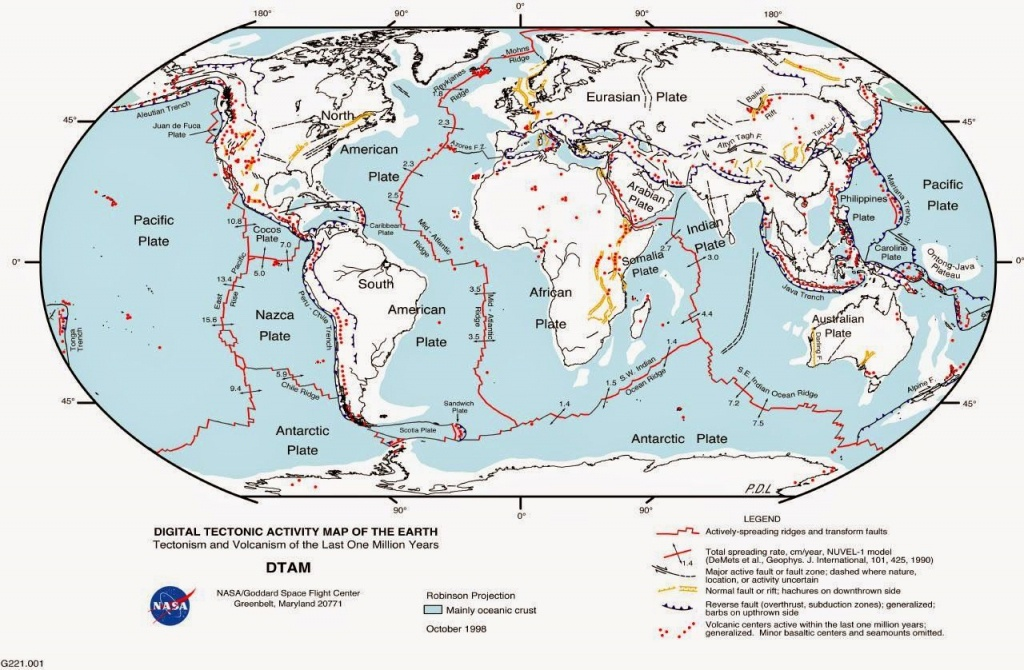 World Map Of Fault Lines And Tectonic Plates. Earthquake Map - World Map Tectonic Plates Printable