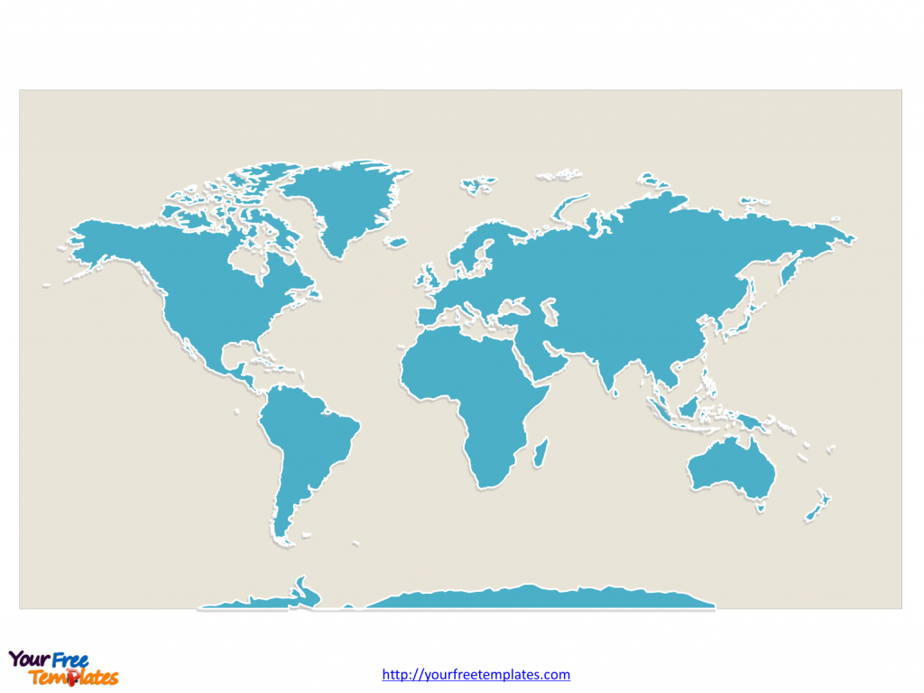 World Map With Continents - Free Powerpoint Templates - Continents Of The World Map Printable