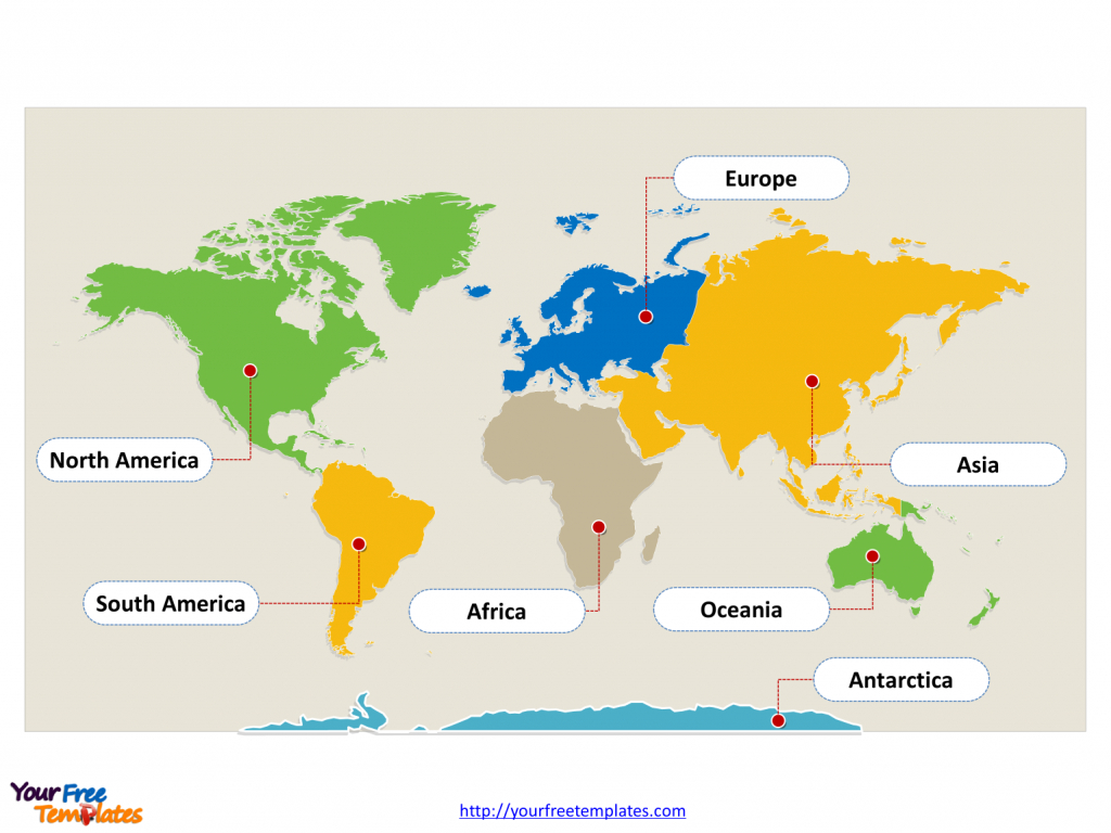 World Map With Continents - Free Powerpoint Templates - Seven Continents Map Printable