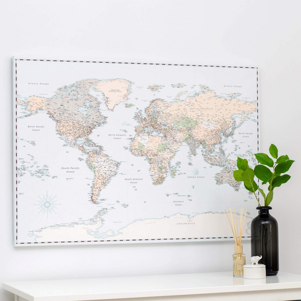 World Push Pin Map - Retro Light Blue (Detailed) - Printable Map With Pins