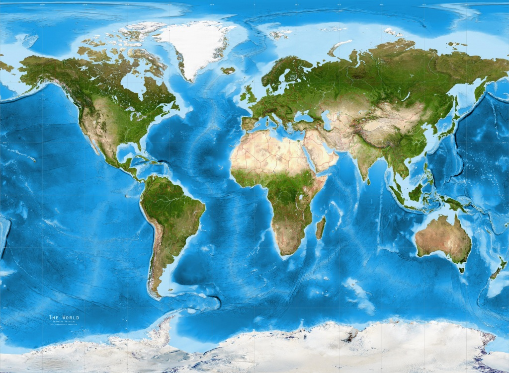 World Satellite Image Giclee Print Physical Gall Stereographic - World Maps Online Printable