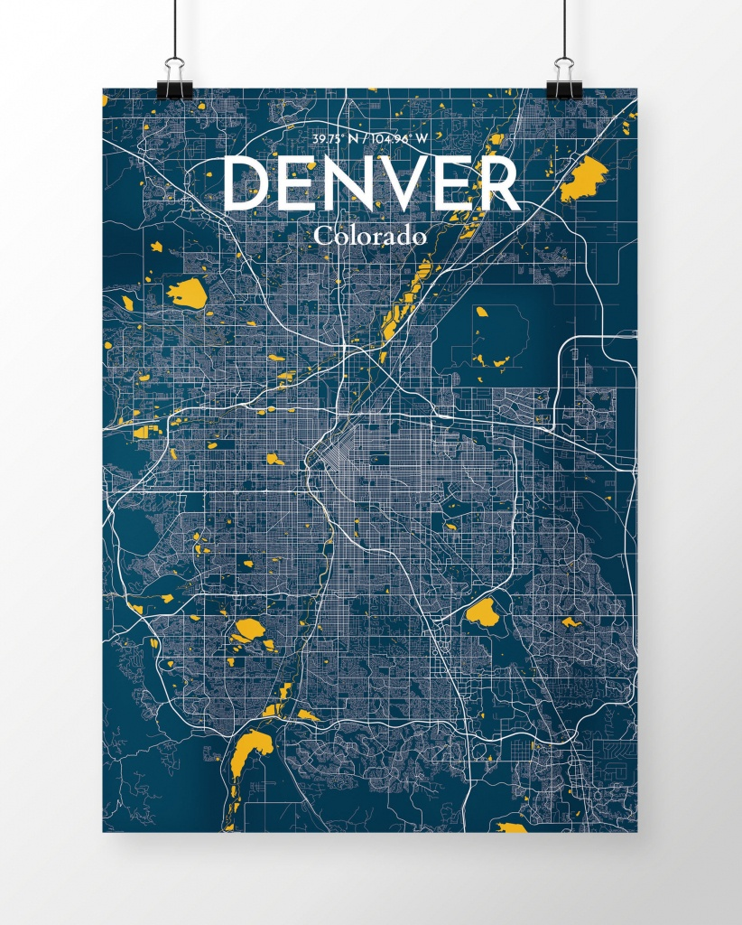 Wrought Studio 'denver City Map' Graphic Art Print Poster In Blue - Denver City Map Printable