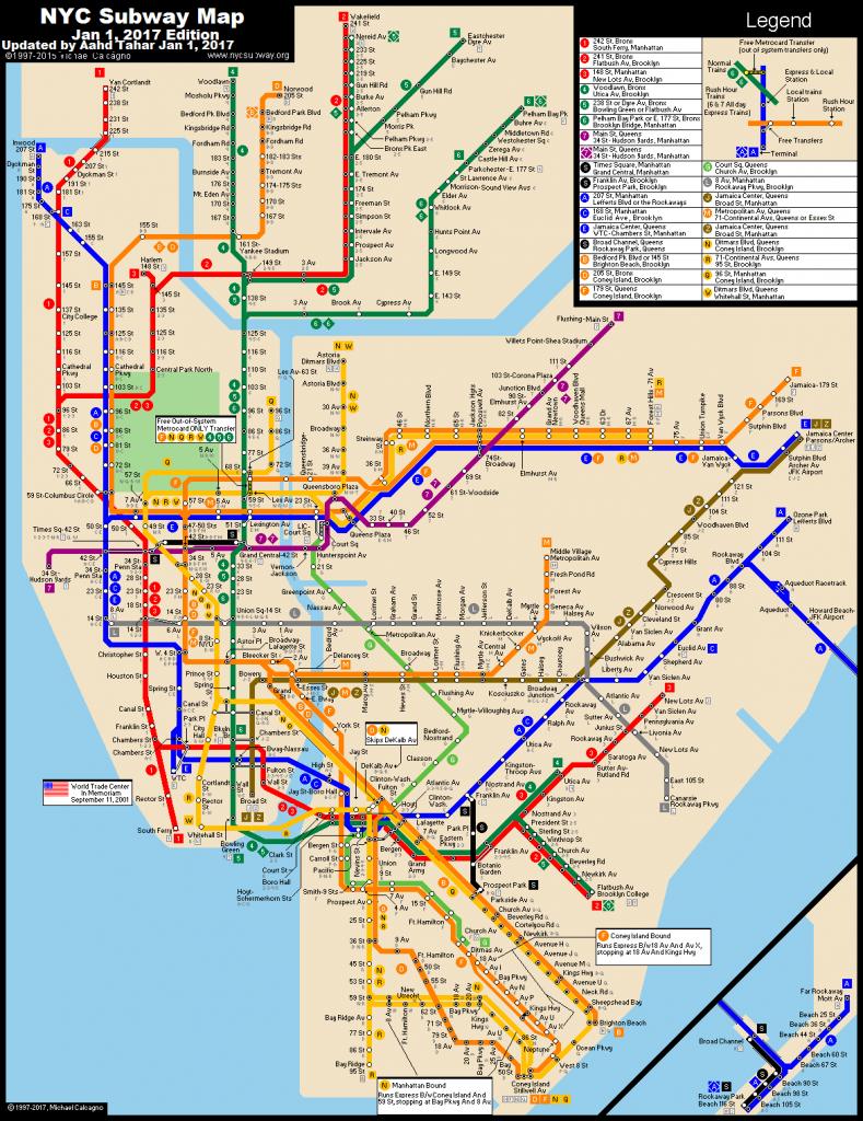Www.nycsubway: New York City Subway Route Mapmichael - Printable New York Subway Map