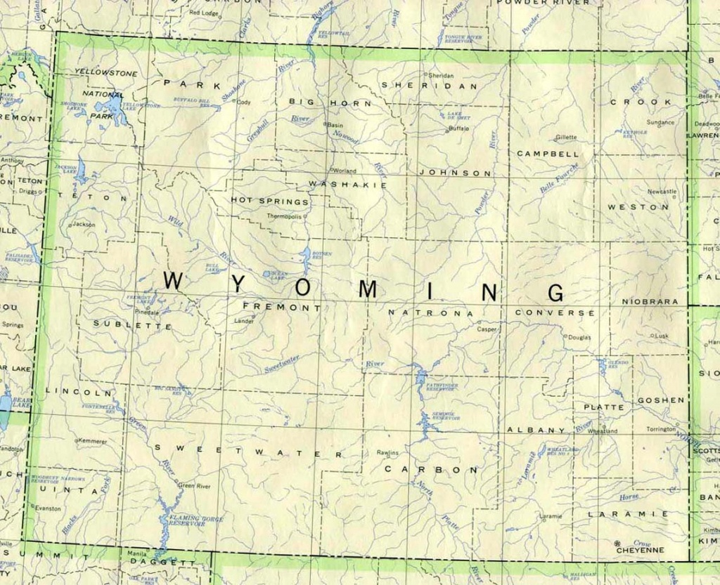 Wyoming Printable Map - Printable Road Map Of Wyoming