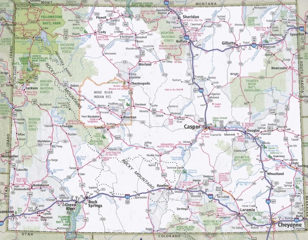 Wyoming Road Map - Printable Road Map Of Wyoming