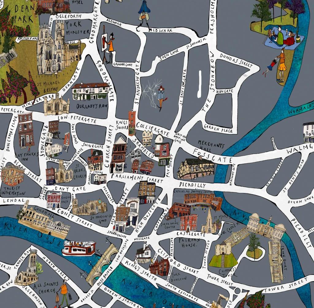 York Map Fine Art Print - Katie Cardew Illustrations - York Street Map Printable