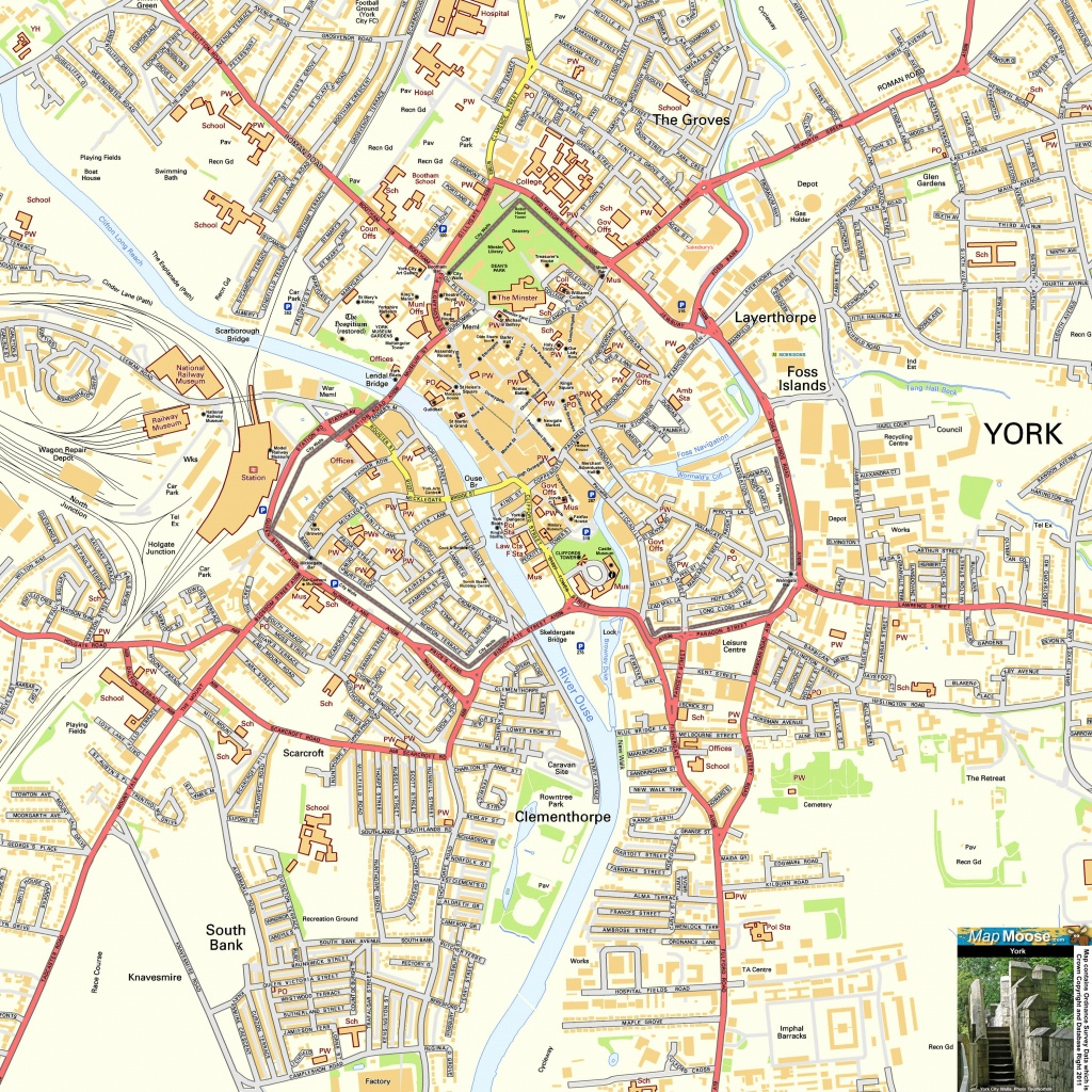 York Offline Street Map, Including The Minster, City Walls - York Street Map Printable