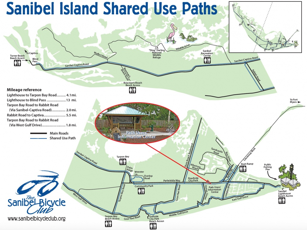 Your Guide To Sanibel Biking - Sanibel Island Florida Map