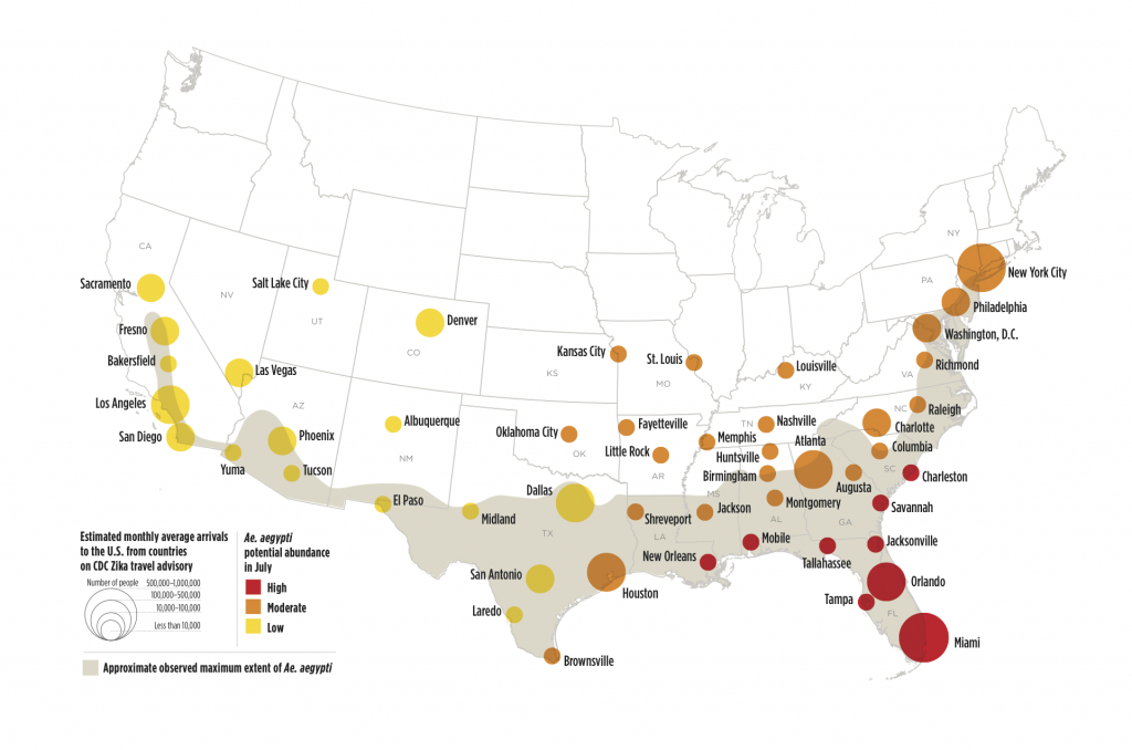 Zika Virus May Affect 50 U.s. Cities | Earth | Earthsky - Texas Zika Map