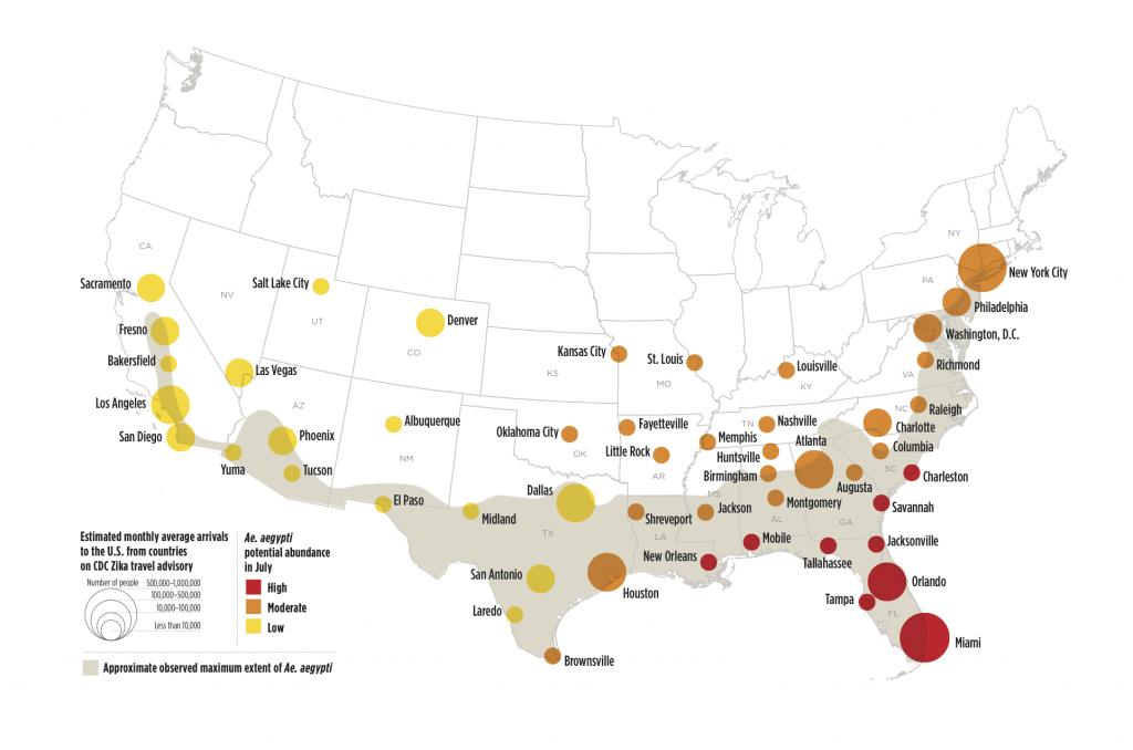 Zika Virus May Affect 50 U.s. Cities | Earth | Earthsky - Zika Florida Map