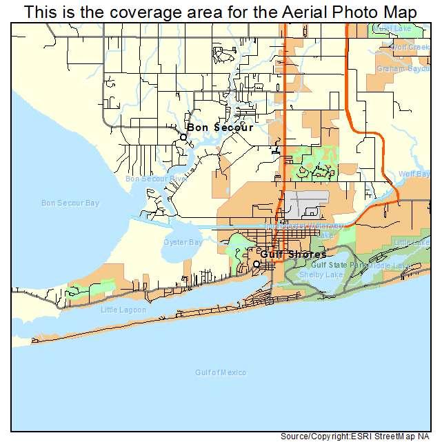 Aerial Photography Map Of Gulf Shores AL Alabama
