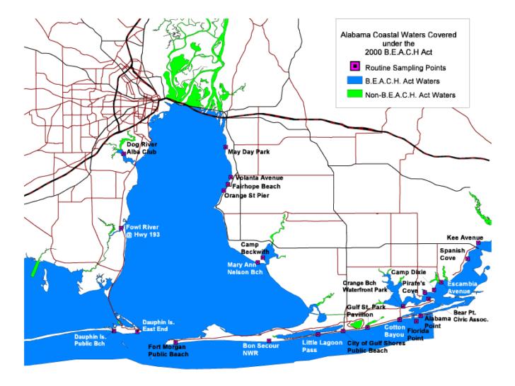 Map Of Alabama Coastal Cities