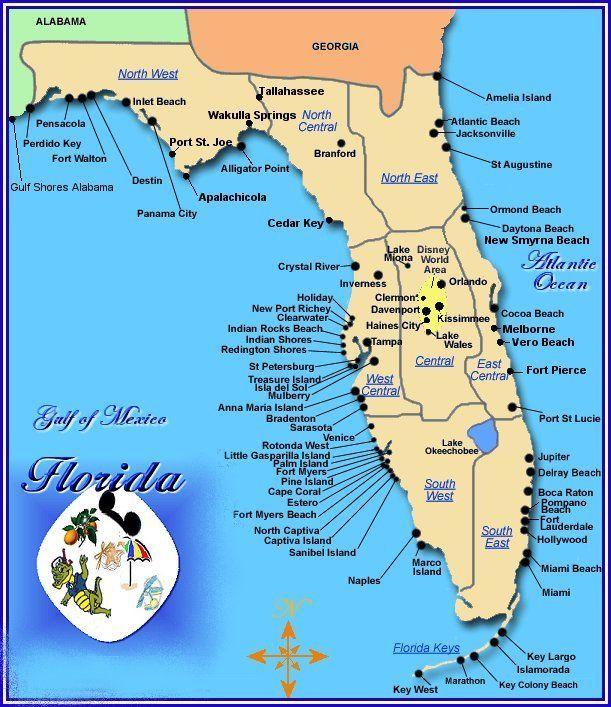 Gulf Coast Florida Travel Destinations Beach Map Of Florida