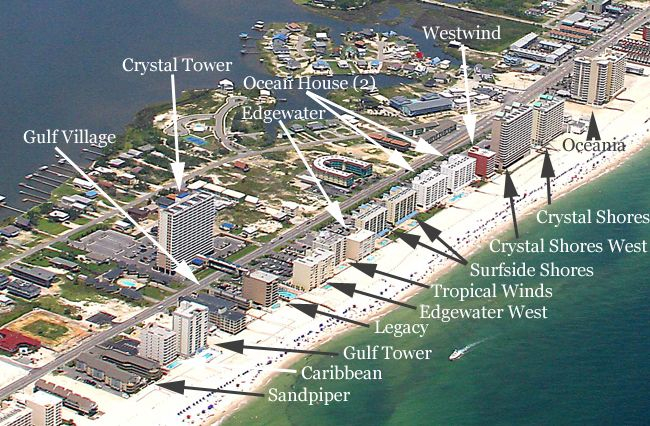 Map Of Gulf Shores Alabama Oceanfront Condos