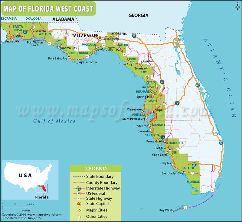 Map Of Florida West Coast Florida West Coast Map