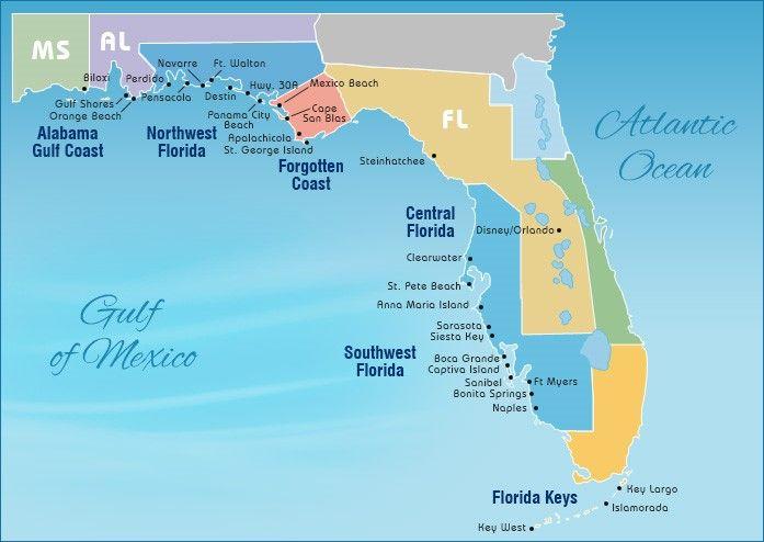 Map Of Gulf Beaches Gulf Coast Beaches Florida Gulf