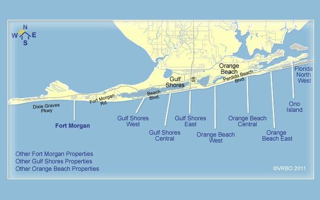 Map Of Orange Beach Fort Morgan Alabama Gulf Shores