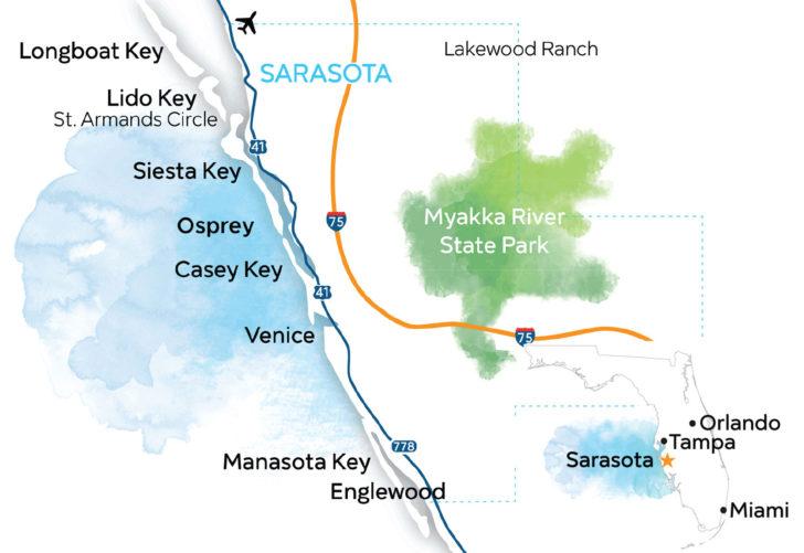 Florida Gulf Coast Map Near Sarasota